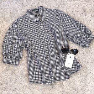 Ralph Lauren Plaid Puffer Sleeve Button Down Shirt